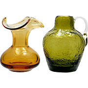 Pilgrim and Rainbow Art Glass Pitcher and vase Miniature Pair Green Amber