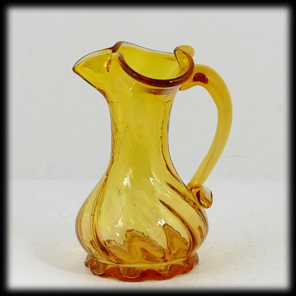"Vintage Jonquil Yellow Hand Blown Art Glass Small Pitcher 5"" Spiral"