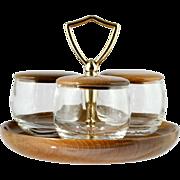 Myrtle Wood Condiment Set Vintage Glass Jars on Handled Base Oregon