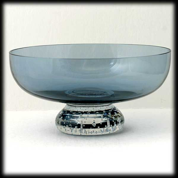 Scandinavian Blue Art glass Bowl Crystal Controlled Bubble Base