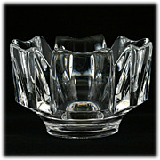 Vintage Orrefors Crystal Bowl Swedish Corona by Lars Hellsten Art Glass