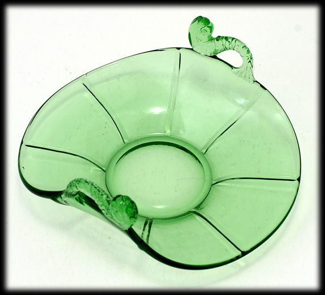 Fenton Green Dolphin Handled Dish Panels Vintage 1920s Art Glass