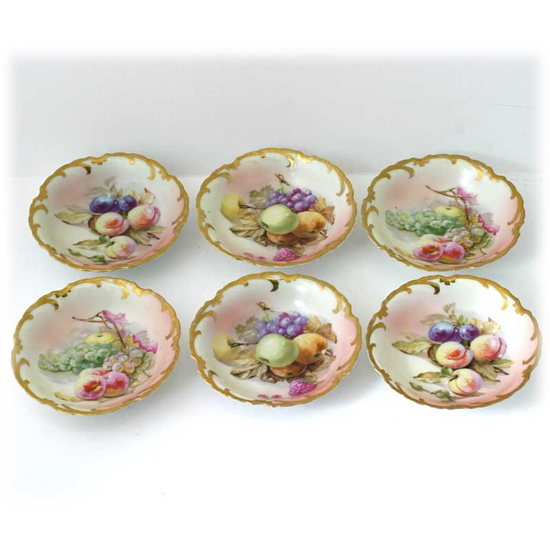 Royal Munich Bavarian Porcelain Bowls Hand Painted Fruits Gold Trim Antique Set 6