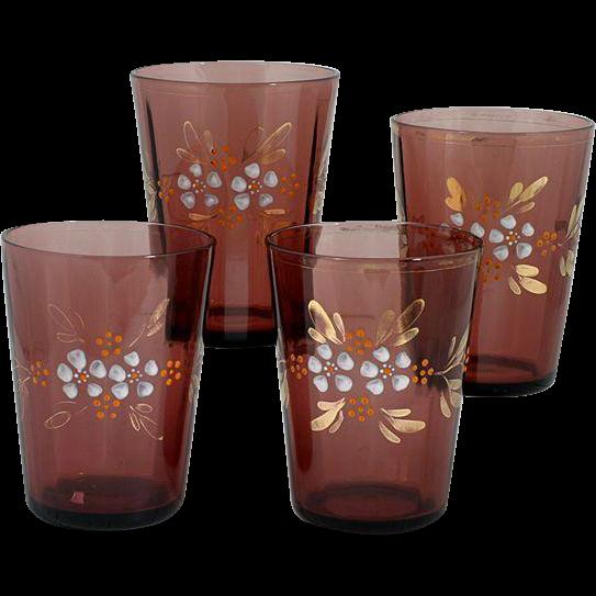 Antique Victorian Amethyst Art Glass Tumblers Enameled Flowers Set 4