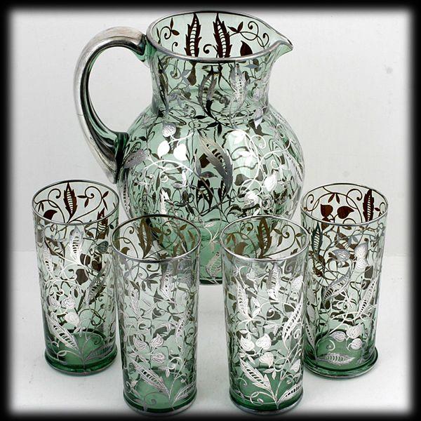 Silver Overlay Pitcher Tumbler Set Green Bohemian Glass
