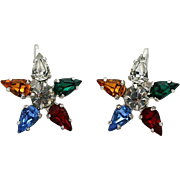 Vintage Rhinestone Star Earrings by B David  Multi Color with Screw Back