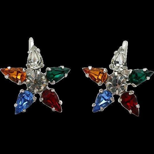 Vintage Rhinestone Star Earrings by B David  Multi Color with Screw Back