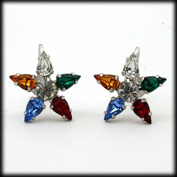B David Rhinestone Star Earrings Multi Color Screw Back Vintage