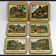 Pimpernel Cork Coasters English Cottages Collection Box Set 6 Vintage - Red Tag Sale Item