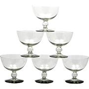 Vintage Kosta Boda Champagne Glasses Smoke Gray Bernadotte Mid Century Art Glass