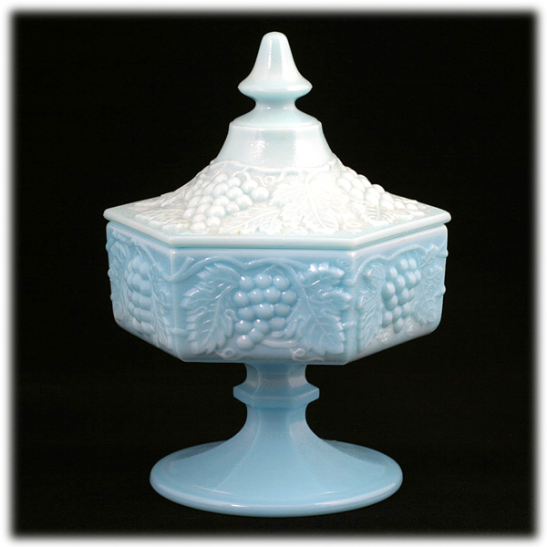 Imperial Glass Vintage Grape Blue Milk Glass Footed Candy Jar 1950s