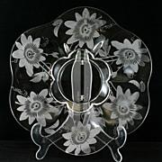 Duncan and Miller Passion Flower Platter Etched Elegant Glass Vintage