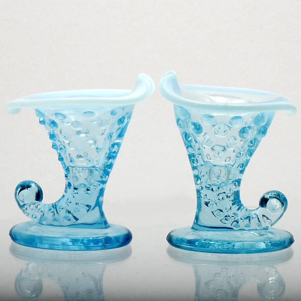 Fenton Glass Blue Opalescent Hobnail Miniature Cornucopia Candle Holder Pair