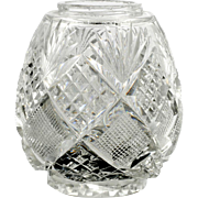 American Brilliant Cut Glass Muffineer Shaker Diamonds and Fans Antique Crystal