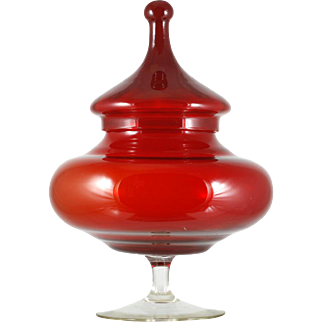 Italian Art Glass Ruby Candy Jar Large Covered Compote Vintage Mid Century Modern