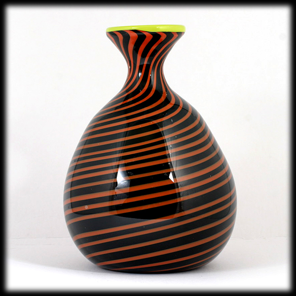 Hand Blown Art Glass Vase Black Orange Spirals Studio Artist