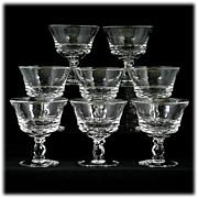 Fostoria Century Elegant Glass Champagne or Sherbet Glasses Set 8 Vintage Crystal