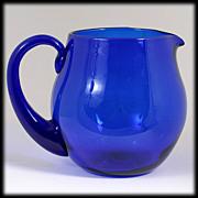Blenko Cobalt Blue Art Glass Pitcher Hand Blown