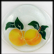 Peggy Karr Fused Glass Plate Peaches Fruit Art Glass Signed