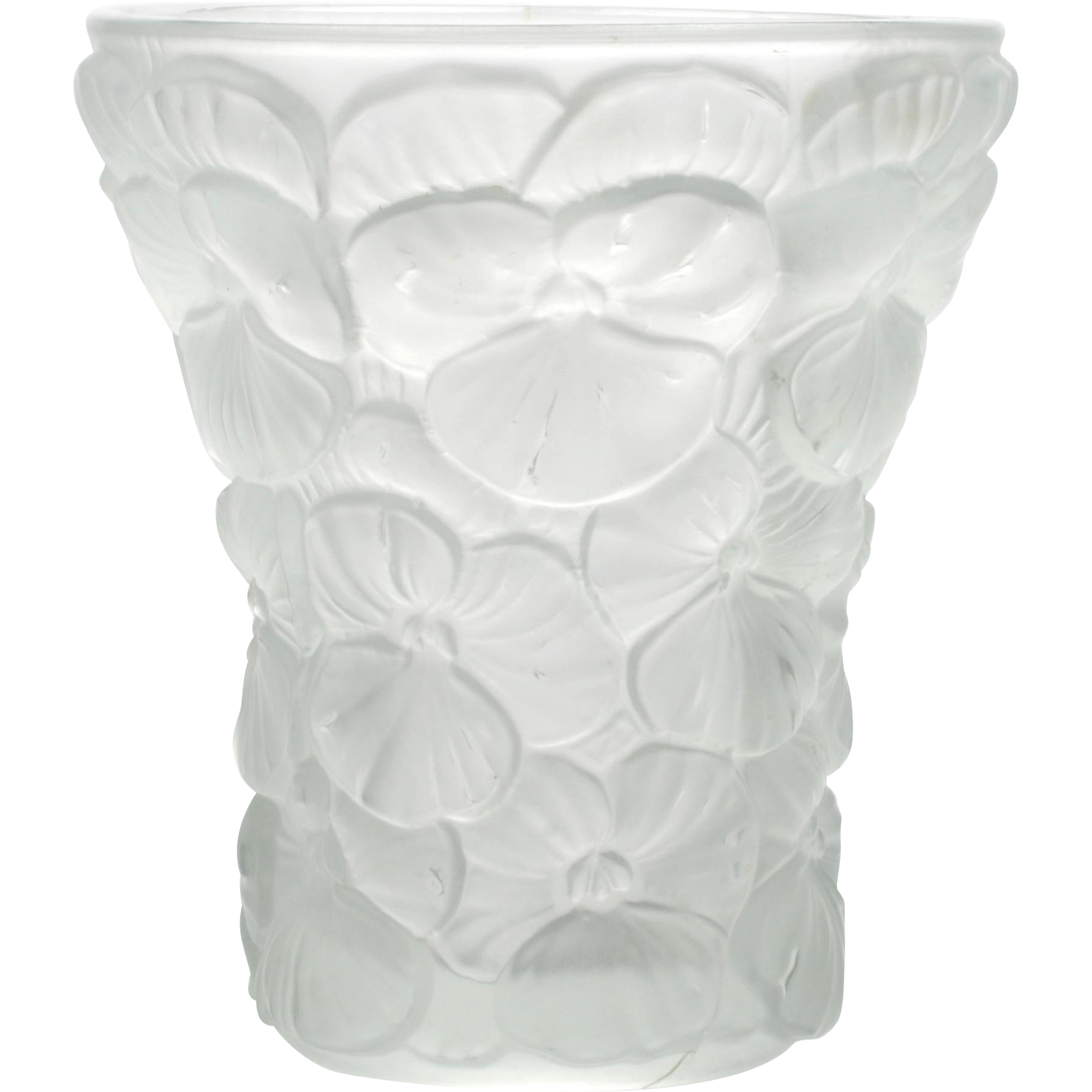 Czechoslovakia Inwald Barolac Art Glass Pansies Vase Czech Vintage Crystal