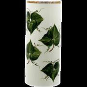 Consolidated Milk Glass Vase Ivy Leaves Vintage Large Cylinder