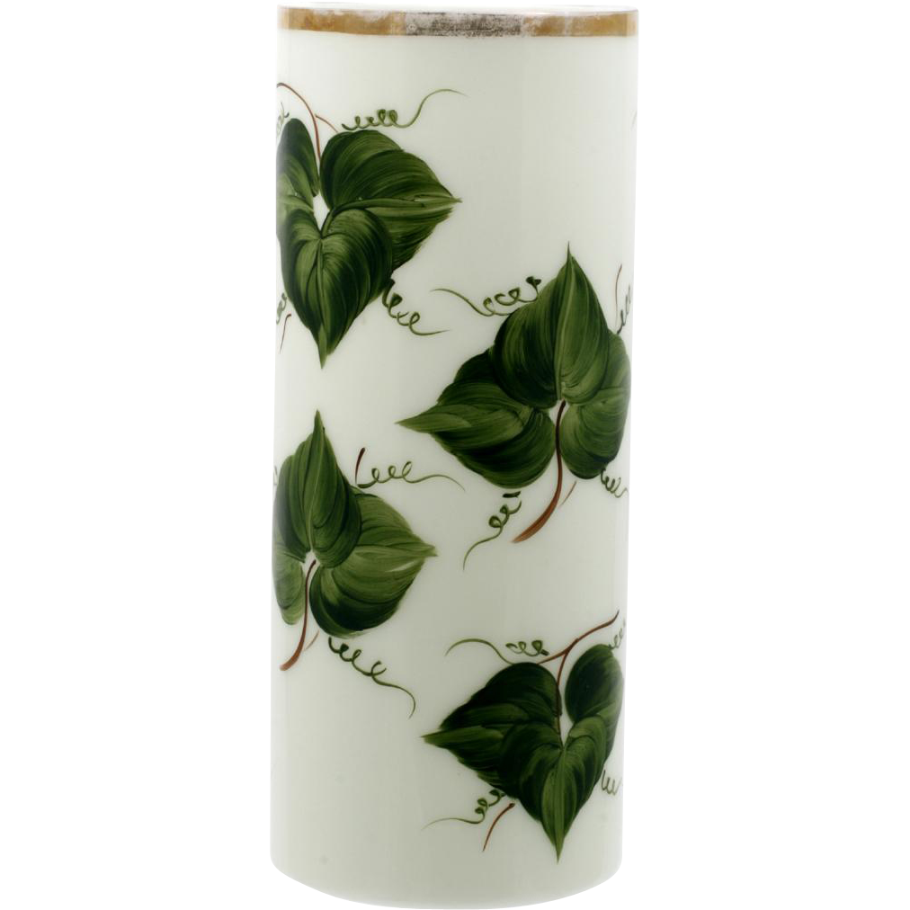 Consolidated Milk Glass Vase Ivy Leaves Vintage Large Cylinder