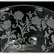 Fostoria Buttercup Tea Cup Elegant Glass Vintage 1940s Flowers Etched