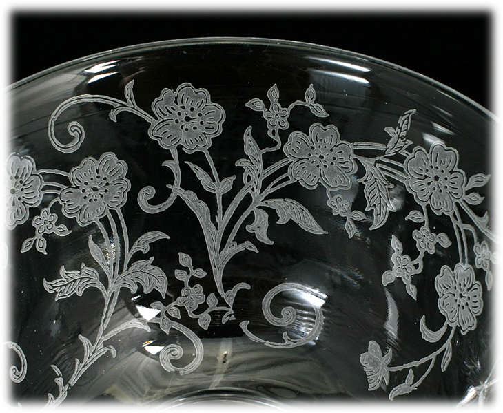 Fostoria Buttercup Tea Cup Elegant Glass Vintage 1940s Flowers Etched