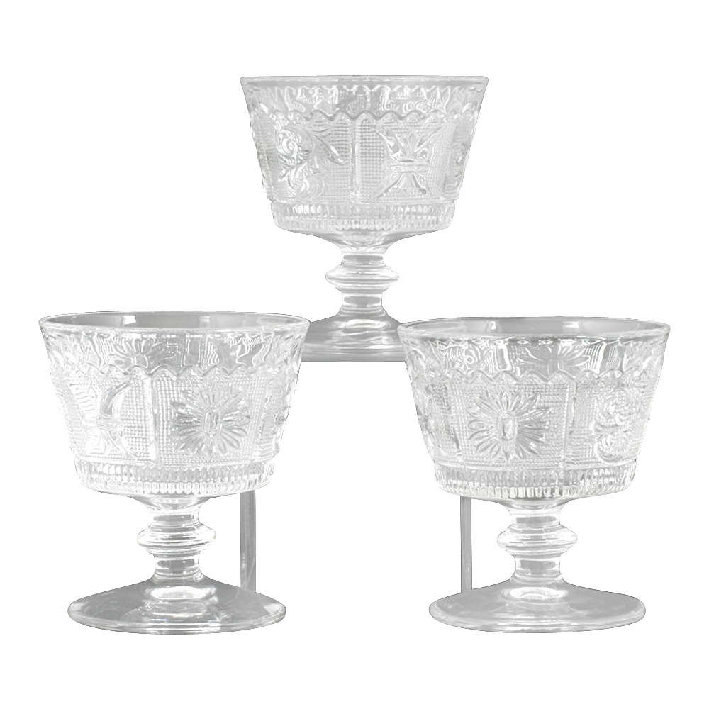 Westmoreland Princess Feather Sherbet Glasses Set of 3 Vintage Elegant Glass