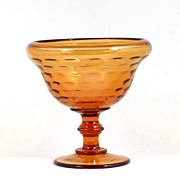 Vintage Amber Elegant Glass Dot Optic Compote Bowl 1940s Honeycomb