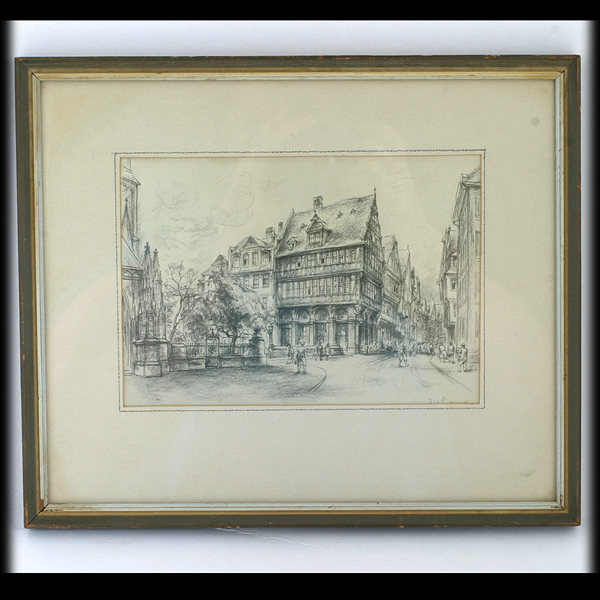 Rick Enders Die Goldene Waage Etching Sketch German Artist Medieval House