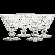 Westmoreland Thousand Eye Crystal Sherbet Glasses Vintage Set of 4