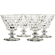 Westmoreland Thousand Eye Crystal Sherbet Glasses Vintage Set of 4