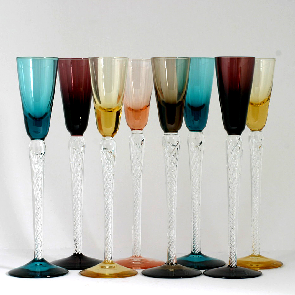 Set 8 Multicolored Airtwist Stem Cordial Glasses Art Glass Blue Amethyst Yellow