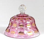 Beaumont Ellipses EAPG Butter Dish Lid Ruby Stained Gold Dots Antique Glass
