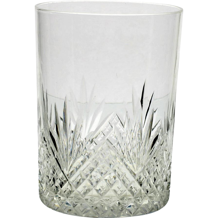 American Brilliant Cut Glass Tumbler Strawberry Diamond Antique Crystal 1890s