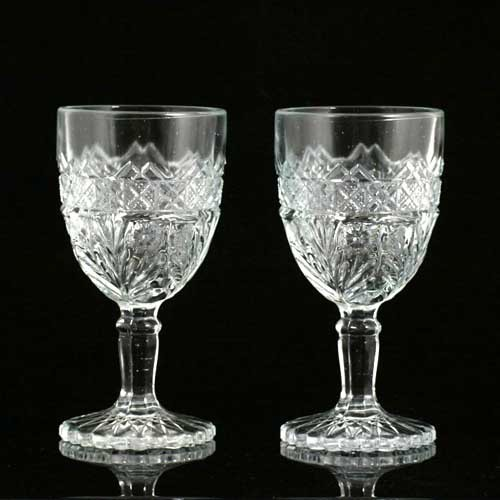 Pair EAPG Wine Glasses Horsemint by Indiana Antique 1915