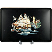 Tin Tray with Sailing Ship and Lighthouse Hand Painted Black Vintage