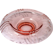 Elegant Depression Glass Pink Console Bowl with Flower Cutting Vintage 1930s