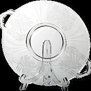 Paden City Oriental Garden Etched Elegant Glass Platter Plate Vintage Crystal