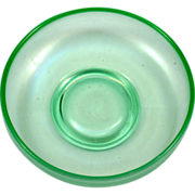 Green Iridecent Stretch Glass Bowl Vintage 1930s Elegant Glass