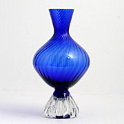 Aseda Cobalt Blue Art Glass Vase Swedish Mid Century Modern
