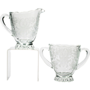 Viking Prelude Creamer and Sugar Bowl Vintage Elegant Glass New Martinsville