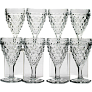 Fostoria American Hex Footed Wine Glasses Set 8 Vintage Elegant Glass