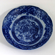 19th Century Flow Blue Vegetable Serving Bowl New Wharf Pottery Verona