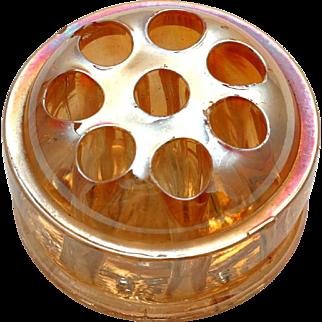 Marigold Carnival Glass Flower Frog for Vase Vintage Iridescent Glass 8 Holes
