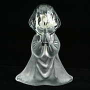 Viking Crystal Satin Praying Girl Figurine Art Glass   Bookend w Labels Vintage