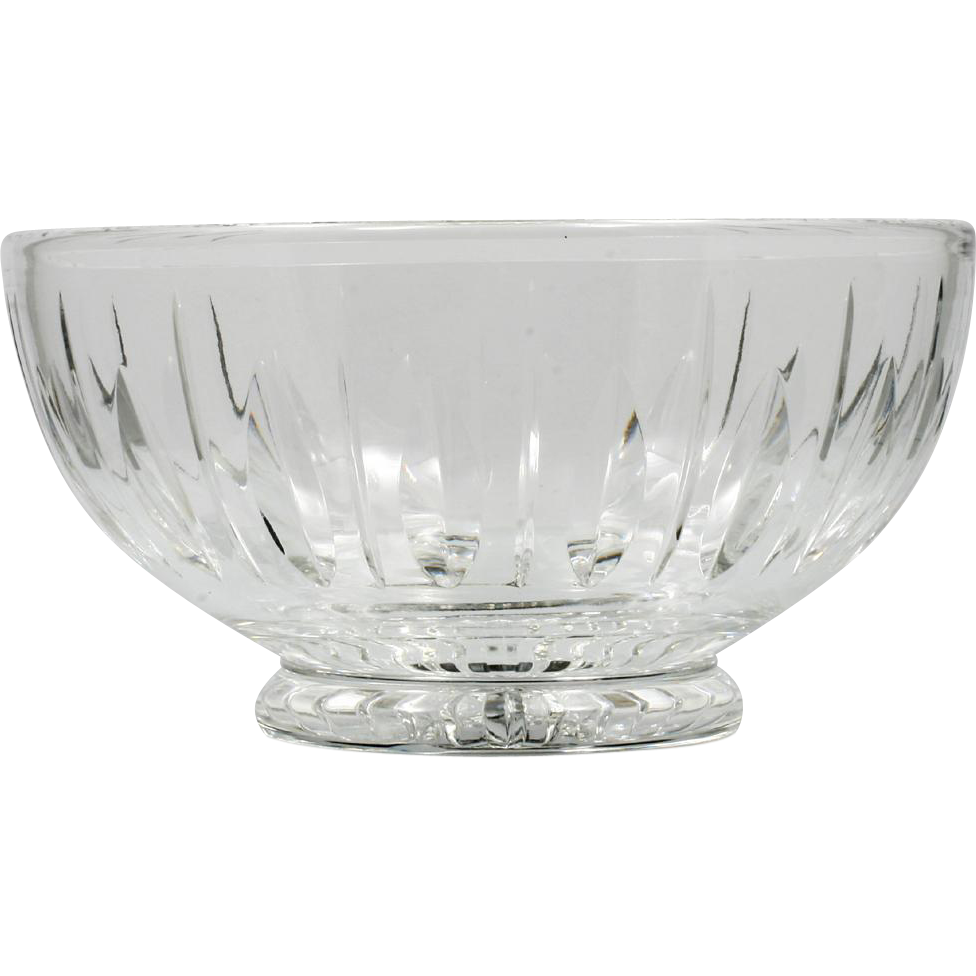 Stuart Cut Crystal Bowl Hampshire English Glass Vertical Cut Pattern Vintage