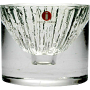 Iittala Art Glass Candle Holder Crystal Textured with Original Label Finland