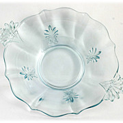Fostoria Baroque Blue Glass Bowl Vintage Elegant Depression Glass 1930s
